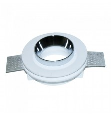 GU10 Fitting Gypsum White Recessed Light With Chrome Metal Round