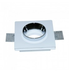 GU10 Fitting Gypsum White Recessed Light With Chrome Metal Square