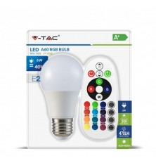 LED Bulb - 6W E27 A60 RGB With Remote Control 6400K (Blister 1 pezzo)