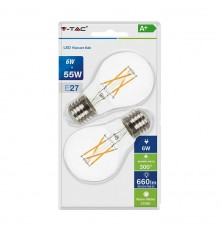 LED Bulb - 6W Cross Filament E27 A60 Clear Cover 2700K (Blister 2 Pezzi)