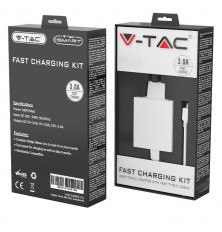 Fast Charging Set With Travel Adapter & Micro USB Cable White