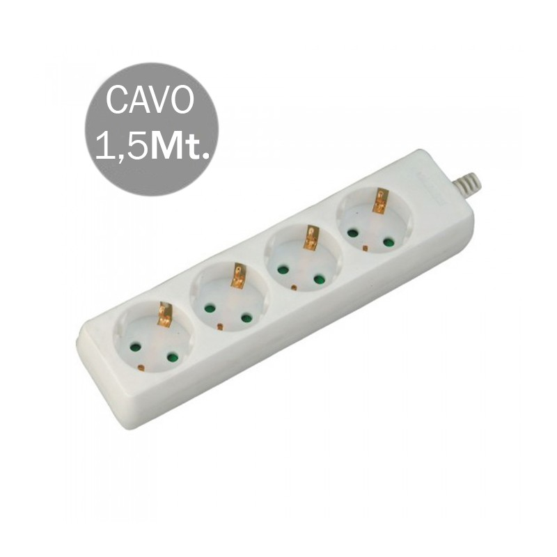 4 Ways Socket (3G 1.5MM2 X 1.5M) Polybag With Card White