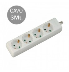 4 Ways Socket (3G 1.5MM2 X 3M) Polybag With Card White