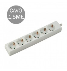 6 Ways Socket (3G 1.5MM2 X 1.5M) Polybag With Card White