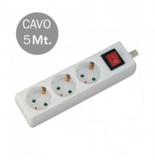 3 Ways Socket With Switch (3G 1.5MM2 X 5M) Polybag With Card White