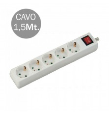 5 Ways Socket With Switch (3G 1.5MM2 X 1.5M) Polybag With Card White