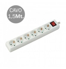 6 Ways Socket With Switch (3G 1.5MM2 X 1.5M) Polybag With Card White
