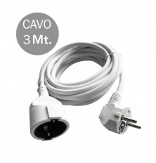 Extension Cord (3G 1.5MM 2 X 3M ) 10/16A , Polybag + Card White