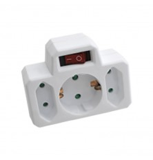 3 Outlet Power Adapter With Earth Contact And Switch 16A 250V ( Label + Polybag With Headc
