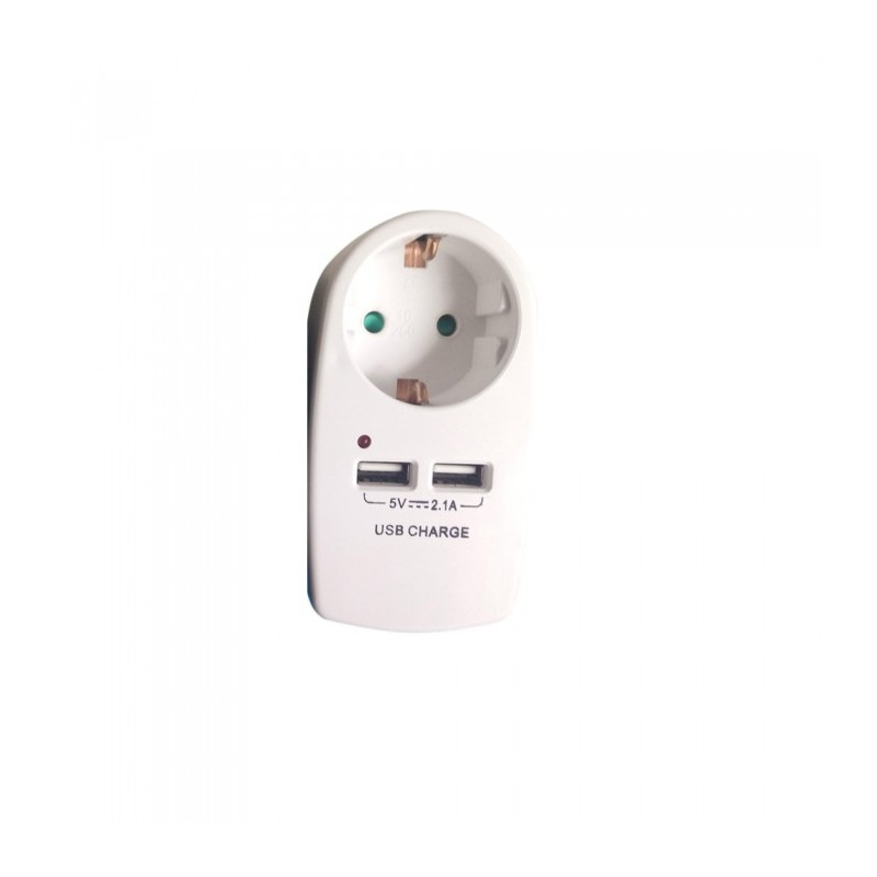 European Type Plug Adapter With Earthing Contact & Charging Interface White