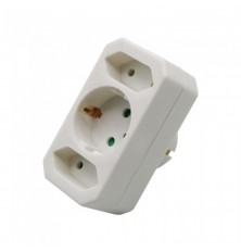 Adapter With Earthing Contact 2 Socket 2.5A 1 Socket 16A White