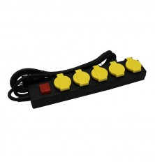5 Ways Socket With Lighted Switch 3G 1.5MM*3M IP44 Black + Yellow