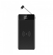 20K Mah Power Bank With Wireless Charger & Built In Micro USB Cable Black
