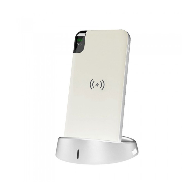 10K Mah Power Bank With Wireless Charger & Display White Lamp Stand