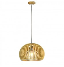 Wooden Pendant Light With Chrome Decorative Cap + Canopy + Lampshade Big Round  D330*H220MM