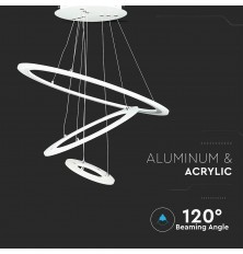 70W LED Metal Pendant Chandelier with 3 Rings Dimmable...